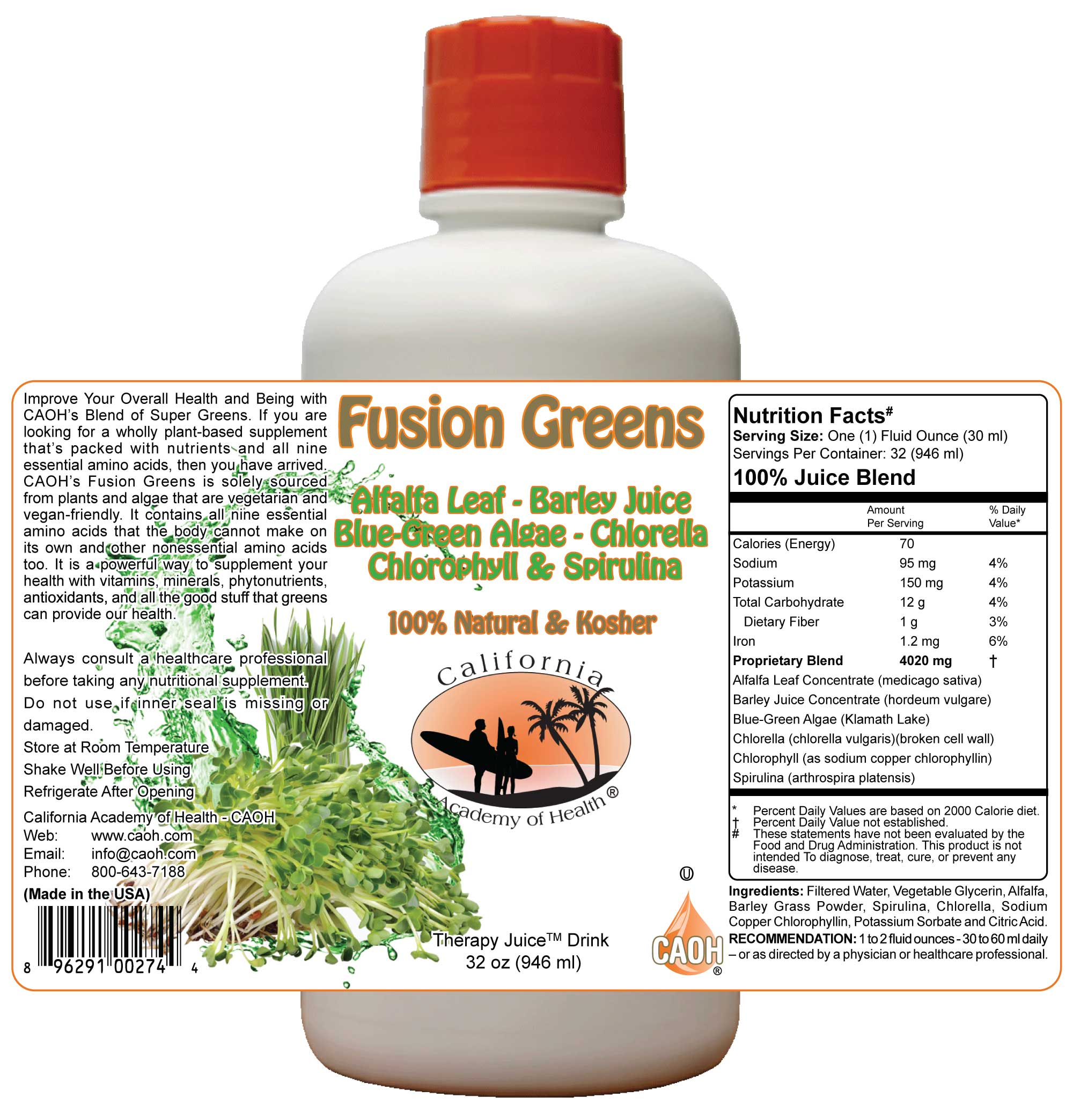 Fusion Greens a Superfood Green Juice Blend 32 oz