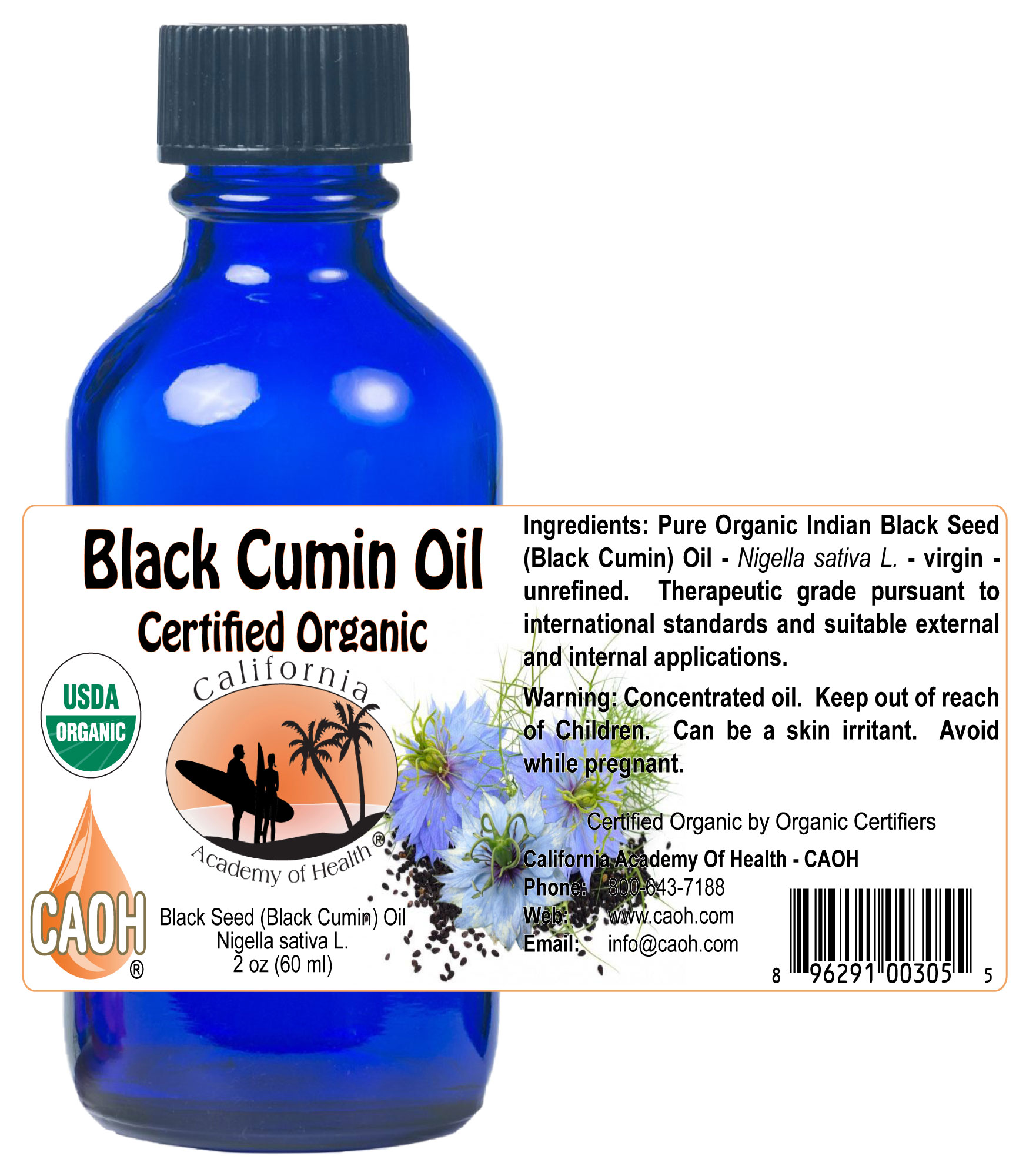 Organic Cumin Black Seed Nigella Sativa Oil 60 ml