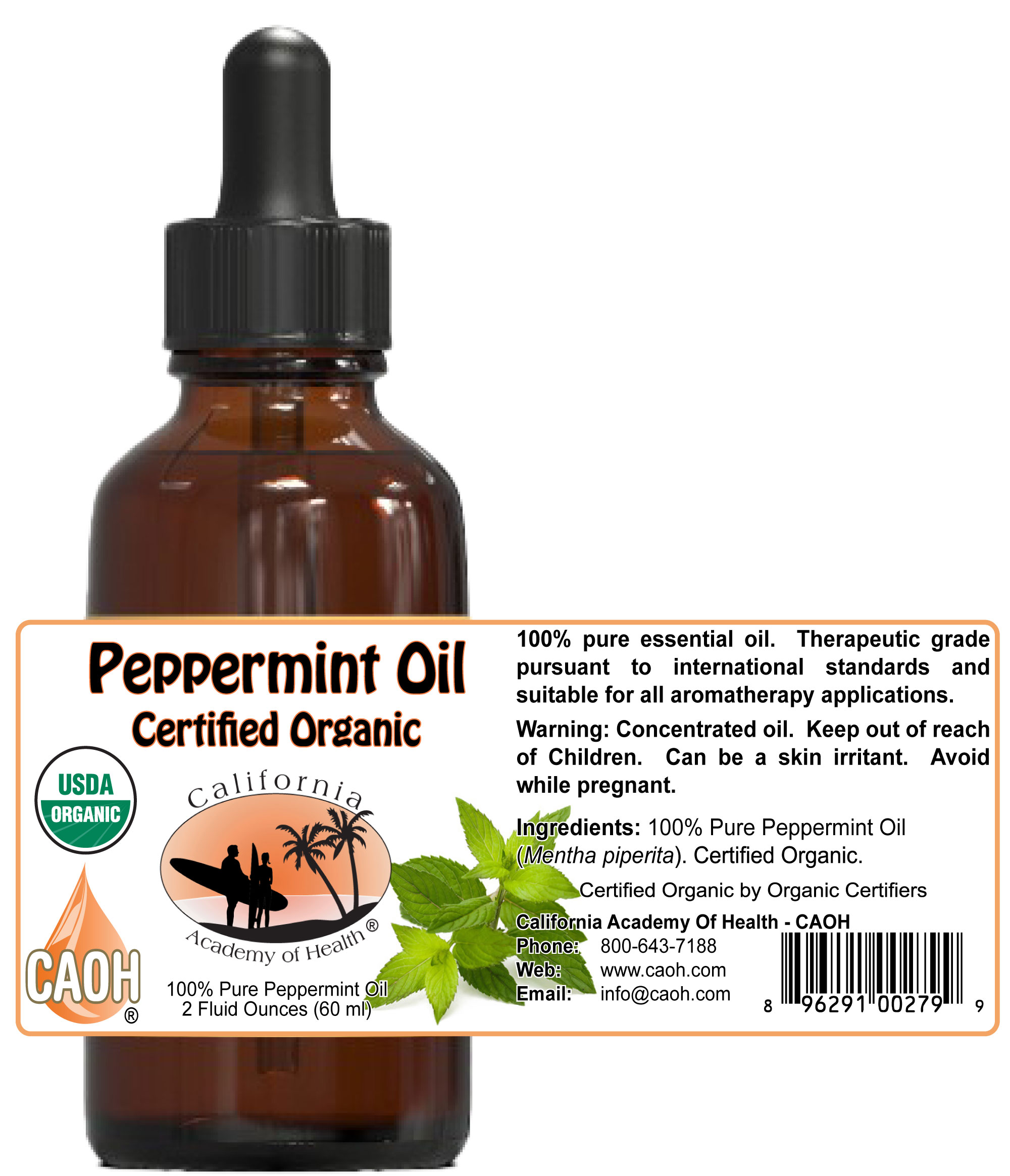 Pure Organic Peppermint Oil 2 oz