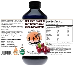 100% Pure Absolute Tart Cherry Juice Juice Concentrate Organic 16 oz