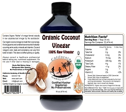 Organic Coconut Vinegar Raw 16 oz