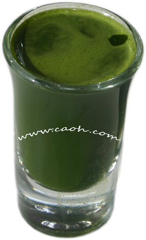 Shot of Wheat Grass Juice Powder by CAOH is Certified Organic